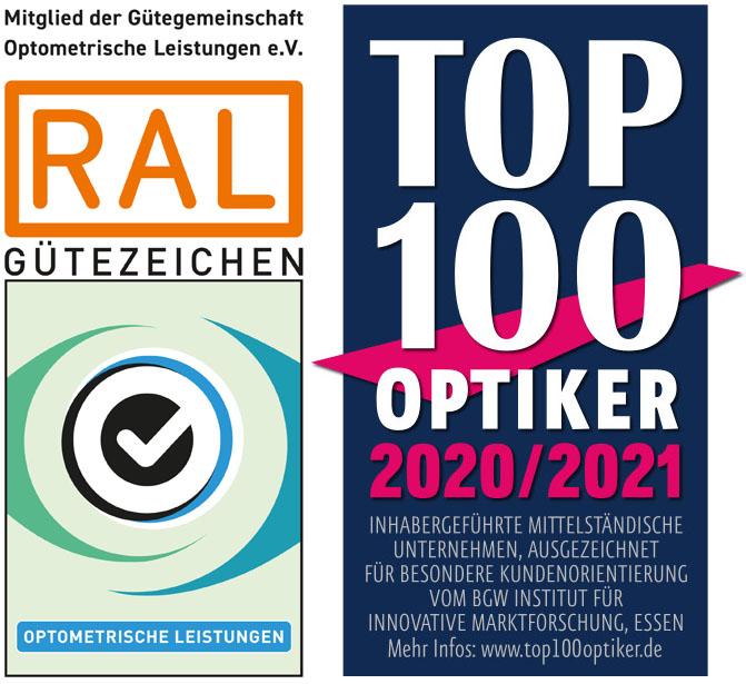 Gütezeichen RAL und Top 100 Optiker 2020/2021